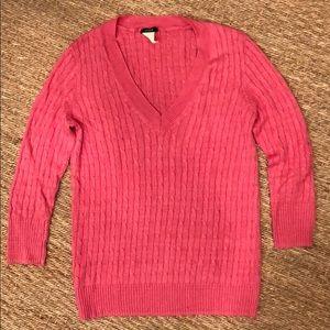 SZ S j Crew linen V neck cable sweater